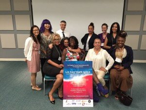 Group photo of the planning committee members, from left to right: Uyen Kao (CHIPTS), Terri Jay (APAIT), Maria Roman (APAIT), AJ King (Commission on HIV), Susan Forrest (HIV DATF), Sabel Samone-Loreca (Commission on HIV),  Dawn McClendon (Commission on HIV staff), Bamby Salcedo (TransLatin@ Coalition), Kimberly Kisler (Friends Research Institute, Inc.), Michelle Enfield (APLA Health & Wellness), and Jazzmun Crayton (APAIT).  Not pictured:  Kiesha McCurtis, Chandi Moore