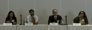 Morning panel discussion (left to right): Sonali Kulkarni, MD, MD (LAC Division of HIV and STD Programs), Anish Mahajan, MD (LAC Department of Health Services), Clayton Chau, MD, PhD (LA Care), and Martha Tadesse NP, RN (LAC Sheriff's Department).