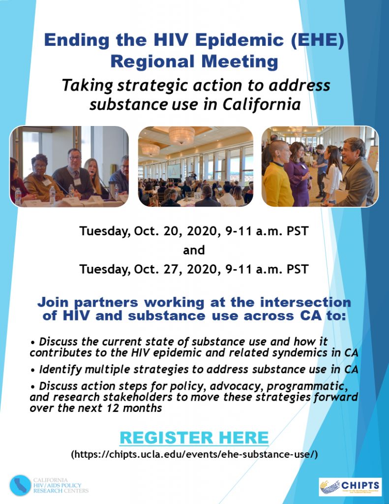 Flyer for EHE regional substance use meeting